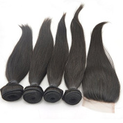 Vedar Beauty 4 Bundle Hair Extension + 1 Closure Straight Hair Extention 100% Weave Human Virgin Malaysian Hair 4Pcs 25cm