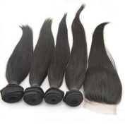 Vedar Beauty 4 Bundle Hair Extension + 1 Closure Virgin Malaysian Straight Hair ,Sew In Raw Unprocessed Weft Weave Remy