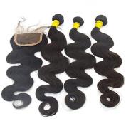 Vedar Beauty Women's 100% Unprocessed 6A Peruvian Virgin Hair Body Wave 3 Pcs Hair Bundles With 10cm X 10cm Hair Closure 3Pcs 10