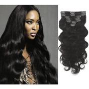 Myfashionhair Top Quality 50cm 100% Brazilian Human Virgin Hair 7pcs Natural Black 1B Body Wave Clip in Hair Extension W