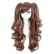 Nuoqi 60cm Long Mixed Blonde/brown Lolita Clip on Ponytails Cosplay Hair Wig