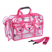 MUA LIMITED Makeup Artist Storage Bag, Clear Cosmetic Bag with Side Pockets and Shoulder Strap, Ergonomic Handle, ON THE GO Series - Pink Trim