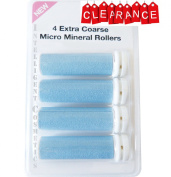 4 x Extra Coarse BLUE Micro Mineral Replacement Rollers Compatible With Emjoi Micro Pedi
