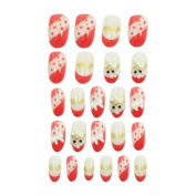 24 x Dot Prints Self-Adhesive 5 Different Sizes Plastic Nails Tips Off-White Red
