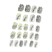 24 x Self-Adhesive 5 Different Sizes Plastic Artificial Nails Tips Black White