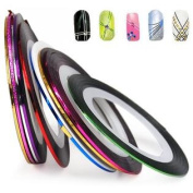10pcs Nail Art Tape Stripe Colour Decoration Roll Sticker DIY
