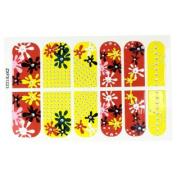 Woman Glitter Flower Desigh Nail Art Stickers Tip Decortion 12 Pcs