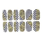 Lady Yellow Black Leopard Print Nail Wrap Foils Self Adhesive Art Sticker 12 Pcs
