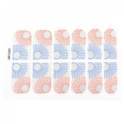 Women Blue Red Polka Dot Printed Nail Wraps Foils Art Stickers 12 Pcs