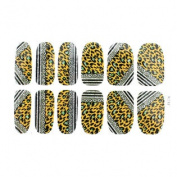 Glitter Leopard Desigh Silver Tone Nail Foils for Woman 12 Pcs