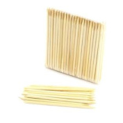 "BambooMN Disposable Bamboo Manicure Sticks/Cuticle Pushers 11cm (4.25"") 4mm (5/32"") X 100pc Bag X 10/box"