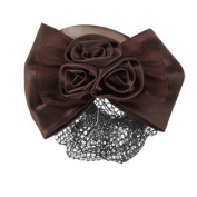 Woman Dark Brown Flower Bow Hairclip Snood Net Barrette