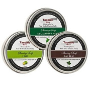 Taconic Shave Barbershop Quality 3 Shaving Soap Variety Pack - with Antioxidant-Rich Hemp Seed Oil - Made in New York's