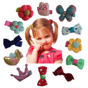 Hair Clips Barrettes Assorted Ribbon Bows Style C Series - 12 pcs of Uniquely Designed For Baby, Toddler, and Young Girls