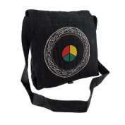 Embroidered Hemp Cloth Peace Sign Celtic Design Cross Body Bag