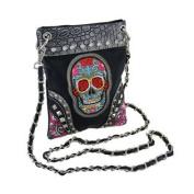 Black Sugar Skull Embroidered Trim Rhinestone Cross Body Purse