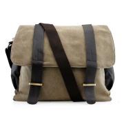 Men's Vintage Canvas Leather Satchel Travel School Military Shoudler Bag Messenger Briefcase Bag - Green