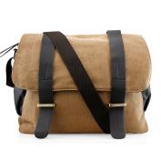 Men's Vintage Canvas Leather Satchel Travel School Military Shoudler Bag Messenger Briefcase Bag - Khaki