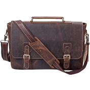 S-ZONE Men's Crazy-Horse Leather Business Briefcase shoulder laptop Bag