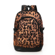 Men Leopard Prints Studded Canvas Backpack Daypacks Black Brown