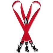 Men's RED SUSPENDERS Y Shape Back Elastic Button & Clip Convertible