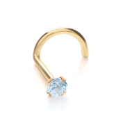 9ct Gold Nose Stud with a Light Blue Sapphire