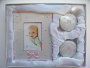 BABY GIRLS first curl tooth set with photo frame Birth Christening gift