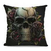 lt-select Ventage Gothic Punk Indian Skulls Collection Retro Linen Pillow Case Decorative Throw Pillowcase Cushion Cover Sham, Skull Rose