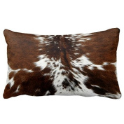 Brown and White Cowhide Art Print Throw Pillow Cover Canvas 24