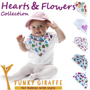 Hearts and Flowers Collection of Funky Giraffe Bandana Bibs