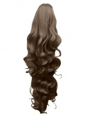 60cm PONYTAIL Clip in Hair Extensions FALLING CURLS Light Brown #12 REVERSIBLE Claw Clip