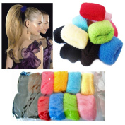 12 Pack Girl's Hair Bobbles Big Bands Ponytail Band Elastic Stretchy Thick Hairband