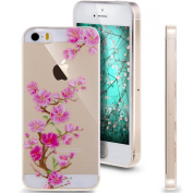 iPhone 4S Case, NSSTAR iPhone 4 Case, [Perfect Fit] Soft TPU Crystal Clear [Scratch Resistant] Pink Flower Floral Plum Blossom Back Case Cover for Apple iPhone 4S iPhone 4 4G