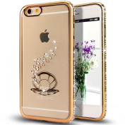 iPhone 6S Plus Case,iPhone 6 Plus Case,NSSTAR Gold Shell Pearl Glitter Bling Crystal Rhinestone Diamonds Clear Rubber Golden Plating Frame TPU Soft Silicone Bumper Case Cover for iPhone 6/6S Plus 14cm