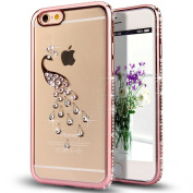 iPhone 6S Plus Case,iPhone 6 Plus Case,NSSTAR Rose Golden Peacock Glitter Bling Crystal Rhinestone Diamond Clear Rubber Rose Plating Transparent TPU Soft Bumper Case Cover for iPhone 6/6S Plus 14cm