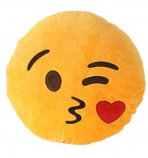 32cm Emoji Smiley Emoticon Yellow Round Pillow Cushion Stuffed Plush Toy Doll Stay Adorable