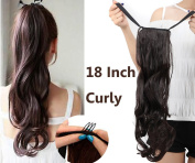 """18""""(46cm) One Piece Curly Wrap Around Binding Tie up Ponytail Clip in Hair Extensions"""