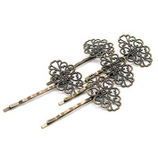 Beautiful Bead 5pcs 5.8cm Iron Copper Alloy Antique Flower Hair Pins Hair Accessories Bronze Colour by Beautiful Bead