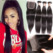 B & F Hair 7a Brazilian Virgin Straight Hair Weave 3 Bundles with 1 Piece 3 Part Lace Closure 100% Unprocessed Human Hair Extensions Natural Colour