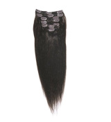 Clip on Remy Hair Extensions 46cm Length #1b