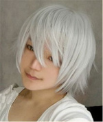 Aimer 30cm Heat Resistant Hair Silver White Colour Spiral Cosplay Wigs for Men
