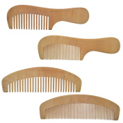 Lclhb® 17cm - 18cm 4pcs Hair Comb Handmade Natural Wooden Combs,wood with Anti-static & No Snag Handmade Brush for Beard Wd03 (WD0301