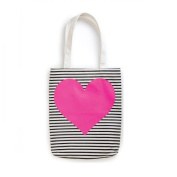 Ban.do Canvas Tote Bag, Neon Heart with Stripes