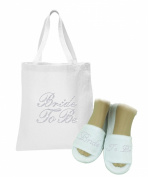 White Crystal Open Toe Spa Slippers and Tote bags wedding bride gift hen party