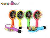 Candy Brush Rainbow Detangling Tangle Hairbrush Combs Wet Dry Hair Brush with Mirror for Women Girl Styling Tool