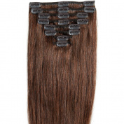 Standard Weft 41cm 90g Medium Brown Clip in 100% Real Remy Human Hair Extensions 8 Pieces 18 Clips