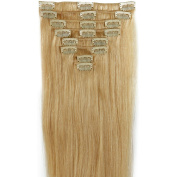 Standard Weft 60cm 110g Bleach Blonde Clip in 100% Real Remy Human Hair Extensions 8 Pieces 18 Clips