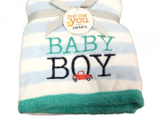 Carter's Just One You Baby Boy Plush Soft Baby Blanket, Blue & White Stripe, Green Border