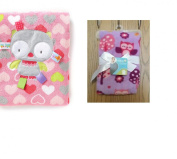 Taggies Baby Girl's PINK Owl & Safety 1st Baby LAVENDER Owl Plush Blankets - Bundle