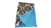 Jojo's Boutique Damask Turquosie minky Blanket 80cm W x 90cm L